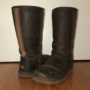 Tall Aztec Style Leather Uggs